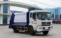 东风天锦压缩式垃圾车工作视频