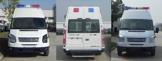选装车顶前额位置标志灯高2600mm,车顶四周选装爆闪警示灯,后侧窗及尾门窗可部分或全部选装盲窗。带OBD。装备防逃栅栏、特种车辆标志灯、警报器等专用装置。ABS系统型号:6C11 2M110 A*;ABS系统生产企业:博世汽车部件(苏州)有限公司。选装前脸、前大灯、尾灯及高位制动灯。选装尾门上车踏板长:5990mm,对应后悬:1307mm。