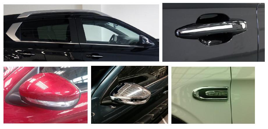 后保险杠装饰件,排气管,车窗装饰条,门把手,外后视镜(集成侧转向灯)